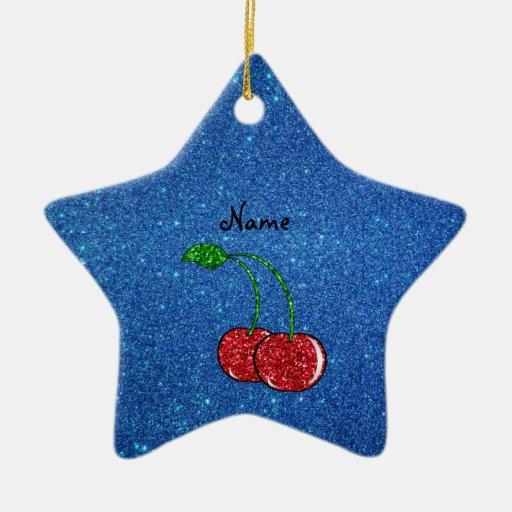 Brillo azul personalizado de la cereza roja ornato