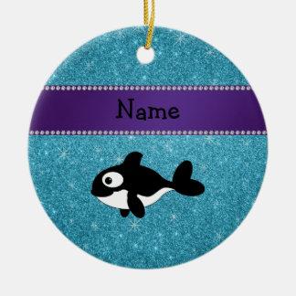 Brillo azul personalizado de la orca conocida adorno redondo de cerámica