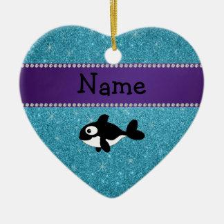 Brillo azul personalizado de la orca conocida adorno de cerámica en forma de corazón