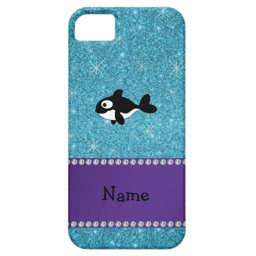 Brillo azul personalizado de la orca conocida iPhone 5 carcasas