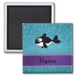 Brillo azul personalizado de la orca conocida iman de frigorífico