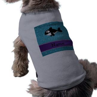 Brillo azul personalizado de la orca conocida playera sin mangas para perro