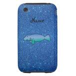 Brillo azul personalizado del manatee conocido iPhone 3 tough protector
