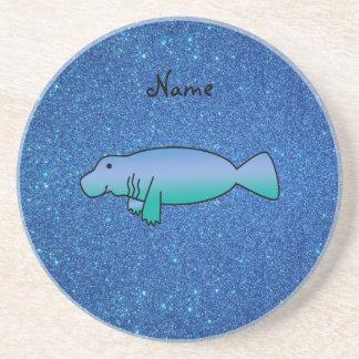 Brillo azul personalizado del manatee conocido posavasos cerveza