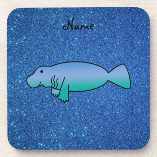 Brillo azul personalizado del manatee conocido posavaso