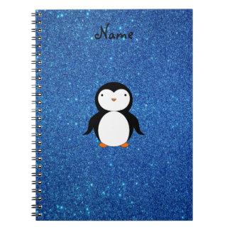 Brillo azul personalizado del pingüino conocido libro de apuntes con espiral