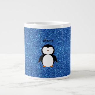 Brillo azul personalizado del pingüino conocido tazas extra grande