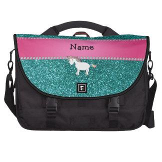 Brillo azul personalizado del unicornio conocido bolsas de portátil