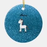 Brillo azul personalizado del unicornio conocido adorno
