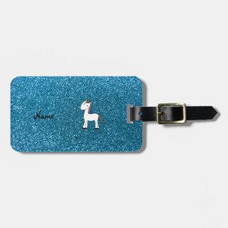 Brillo azul personalizado del unicornio conocido etiqueta de maleta