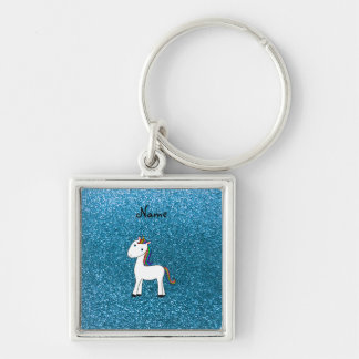 Brillo azul personalizado del unicornio conocido llavero cuadrado plateado