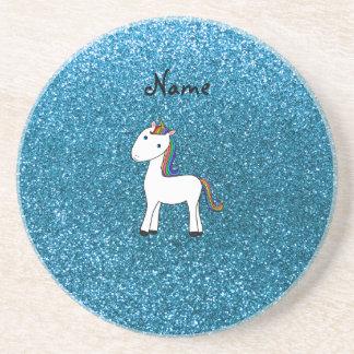 Brillo azul personalizado del unicornio conocido posavasos personalizados