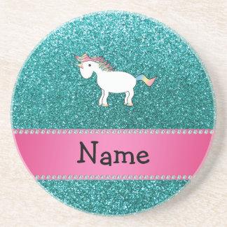 Brillo azul personalizado del unicornio conocido posavasos manualidades