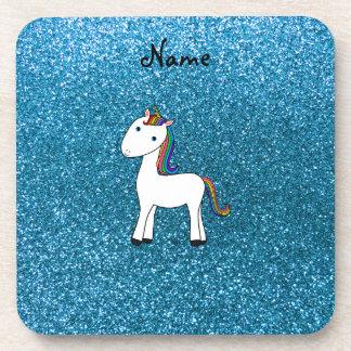 Brillo azul personalizado del unicornio conocido posavasos de bebida