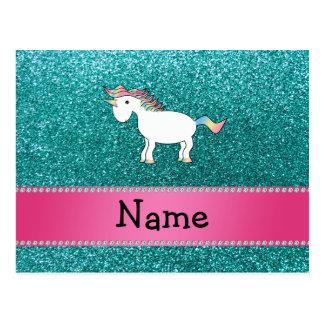 Brillo azul personalizado del unicornio conocido tarjeta postal