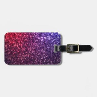 Brillo azul rojo púrpura etiqueta para maleta