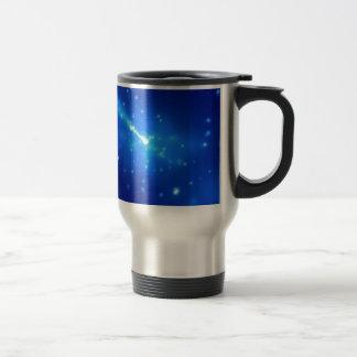 Brillo azul taza de viaje de acero inoxidable