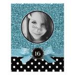 Brillo azul y dulce 16 de la foto de BW Polkadots Anuncios Personalizados