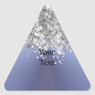 Brillo azul y falso gris pegatina triangular