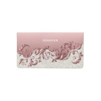 Brillo blanco del confeti y metálico rosado funda para chequera