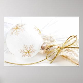 Brillo blanco del oro de lujo de los ornamentos de poster