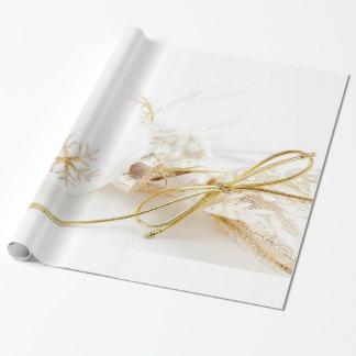 Brillo blanco del oro de lujo de los ornamentos papel de regalo