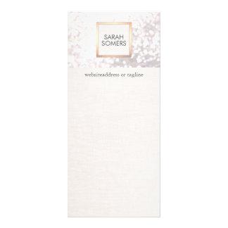 Brillo blanco elegante de Bokeh y FALSO lino Tarjeta Publicitaria A Todo Color