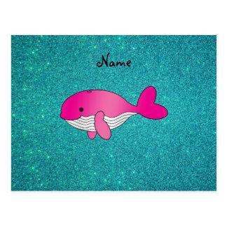 Brillo blanco rosado conocido personalizado de la  tarjeta postal