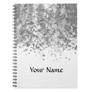 Brillo blanco y falso personalizado cuaderno