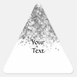 Brillo blanco y falso personalizado pegatina triangular
