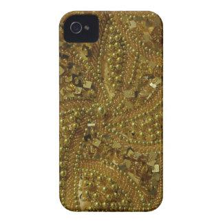 Brillo bling y perlas del oro Case-Mate iPhone 4 protector