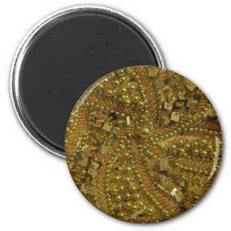 Brillo bling y perlas del oro imán de frigorífico