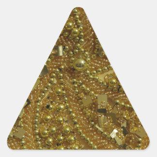 Brillo bling y perlas del oro pegatina triangular