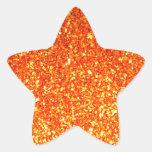 Brillo brillante anaranjado calcomania forma de estrella personalizadas