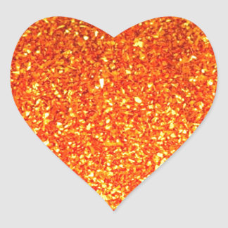 Brillo brillante anaranjado pegatina en forma de corazón