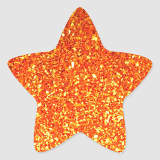 Brillo brillante anaranjado pegatina en forma de estrella