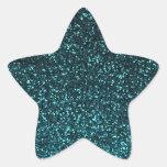 Brillo brillante del negro azul del trullo calcomanías forma de estrellaes