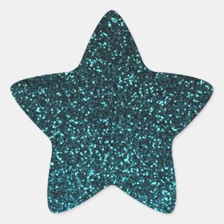 Brillo brillante del negro azul del trullo pegatina en forma de estrella