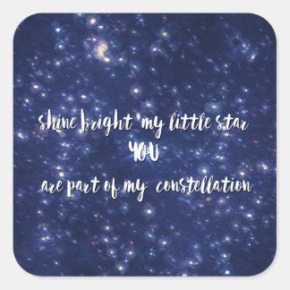 Brillo brillante mi pequeña cita de la estrella pegatina cuadrada