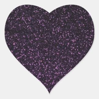 Brillo brillante púrpura negro pegatina en forma de corazón