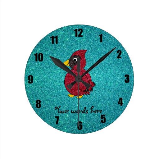 Brillo cardinal de la turquesa del brillo rojo reloj de pared