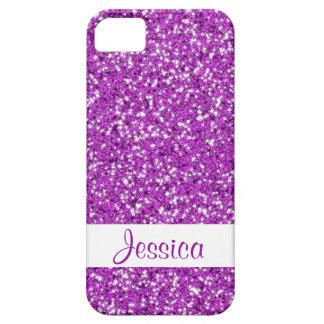 Brillo chispeante de la púrpura falsa con nombre iPhone 5 carcasa