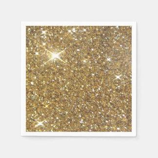 Brillo chispeante del oro de lujo servilletas de papel