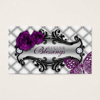Brillo color de rosa de la mariposa de la joyería tarjetas de visita