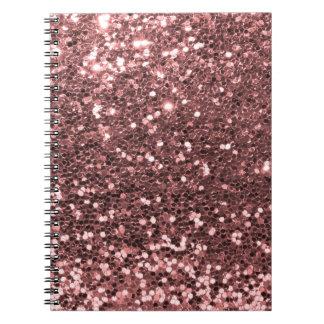 Brillo color de rosa del oro libros de apuntes