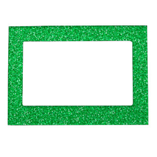 Brillo colorido del verde del aniversario de boda marcos magnéticos para fotos