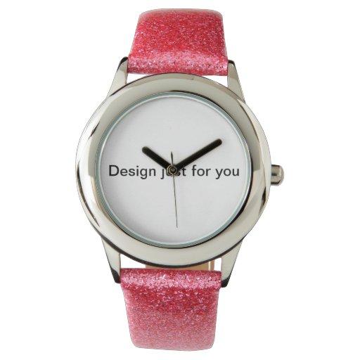 Brillo con el rosa, correa del brillo: Diseño Relojes De Mano