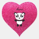 Brillo conocido de encargo del rosa de la panda pegatina en forma de corazón