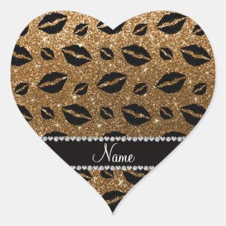 Brillo conocido del oro de los besos del lápiz pegatina en forma de corazón