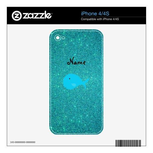 Brillo conocido personalizado de la ballena de la  calcomanía para el iPhone 4S
